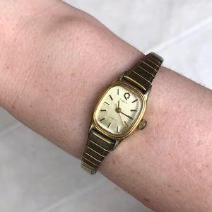 Timex vintage gold tone watch quartz Art Deco MCM